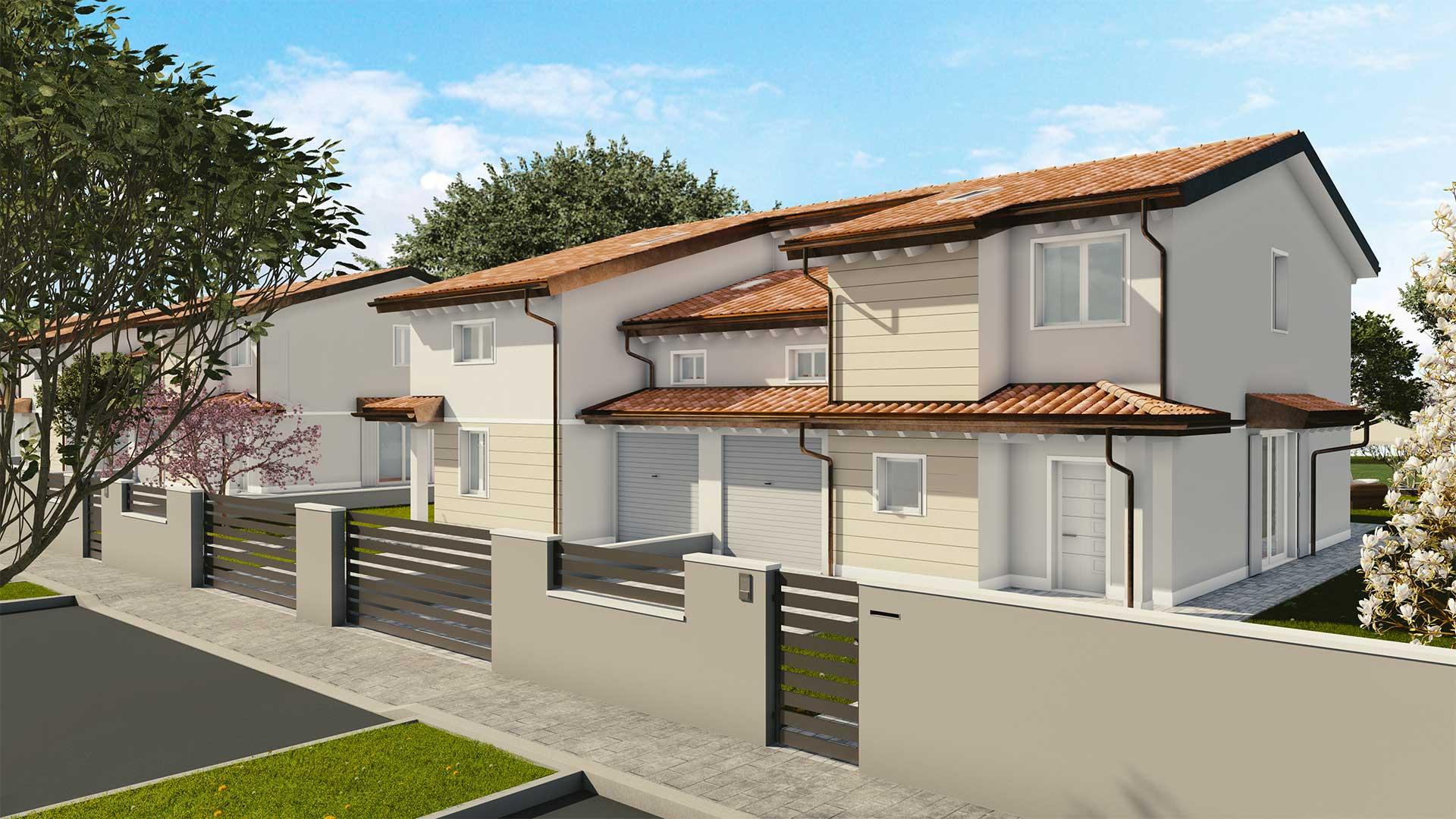 Fronte nuove case bifamigliari Mirandola