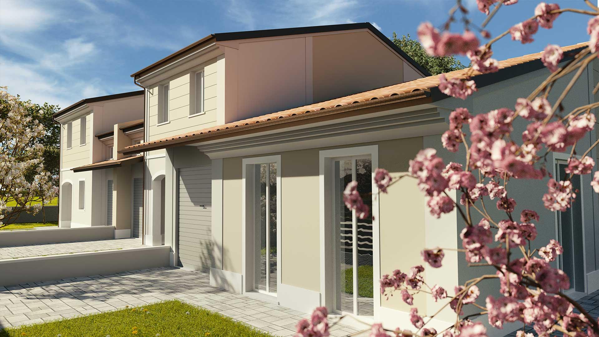 Fronte nuove case trifamigliari Mirandola