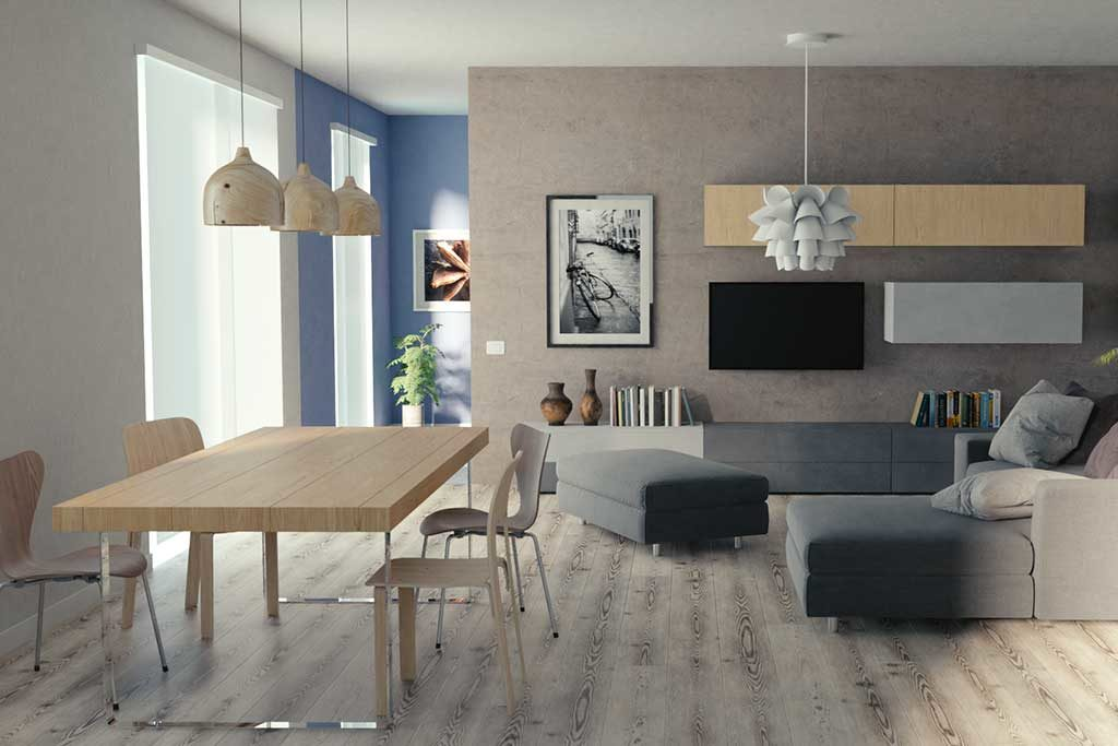 foto interno casa nuova a Mirandola - parete tv e living